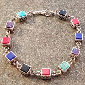 Jewelry - Sterling Multi Stone Filigree Link Bracelet